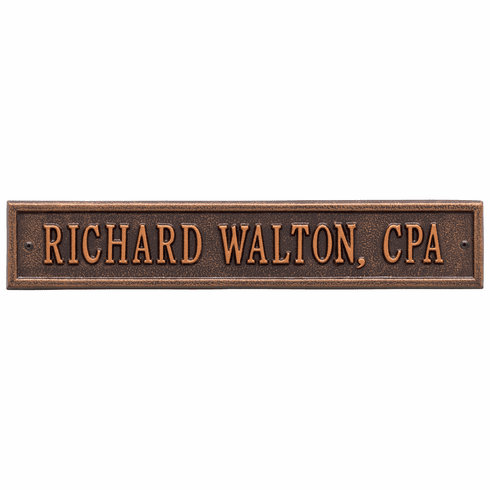 Arch Extension Standard Wall One Line Plaque in Antique Copper