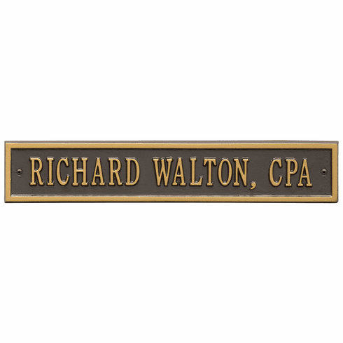 Arch Extension Standard Wall One Line Plaque in Bronze and Gold