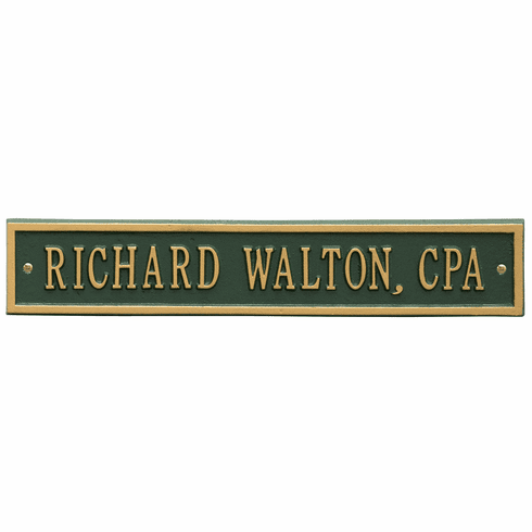 Arch Extension Standard Wall One Line Plaque in Green and Gold