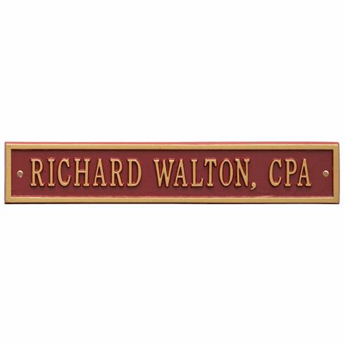 Arch Extension Standard Wall One Line Plaque in Red and Gold