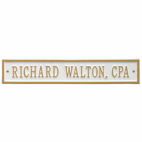 Arch Extension Standard Wall One Line Plaque in White and Gold