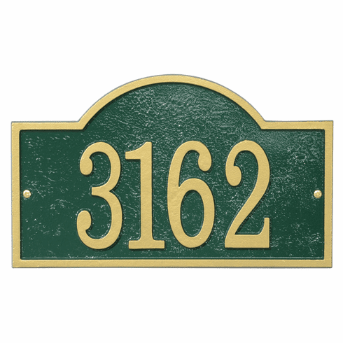 Arch House Numbers Plaque in Green and Gold