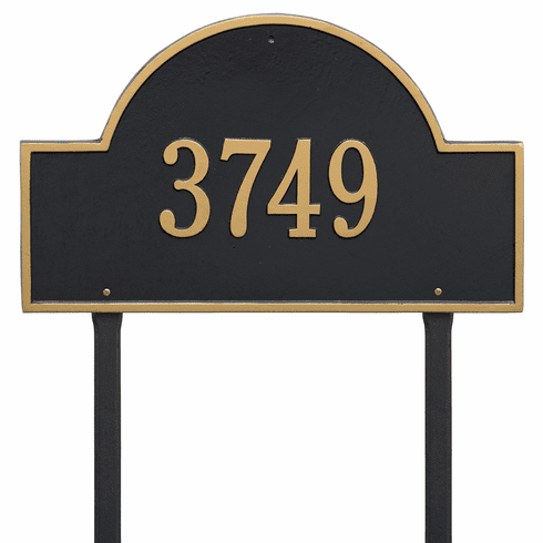 Arch Marker Estate Lawn One Line Plaque Black and Gold