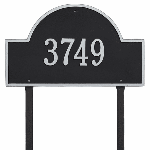 Arch Marker Estate Lawn One Line Plaque Black and Silver