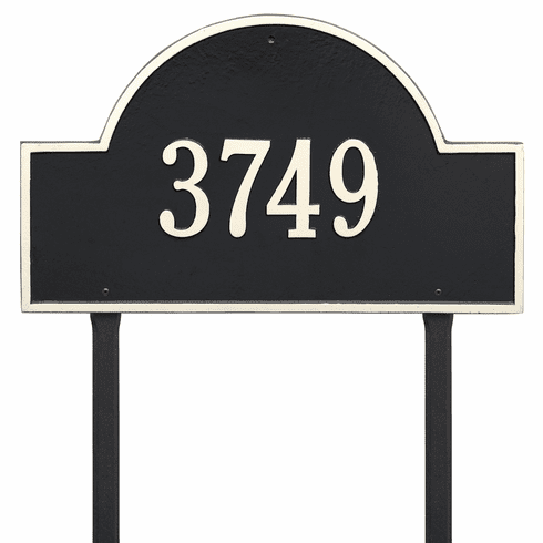 Arch Marker Estate Lawn One Line Plaque Black and White