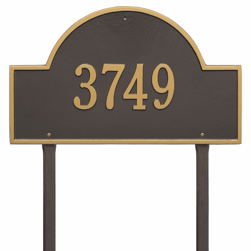 Arch Marker Estate Lawn One Line Plaque Bronze and Gold