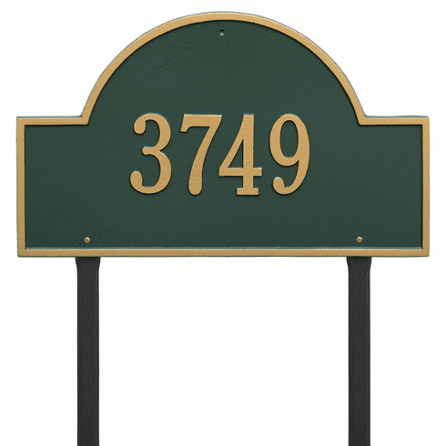Arch Marker Estate Lawn One Line Plaque Green and Gold