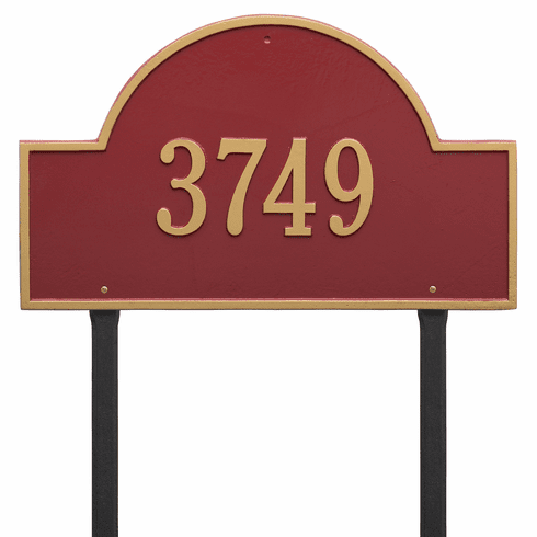 Arch Marker Estate Lawn One Line Plaque Red and Gold