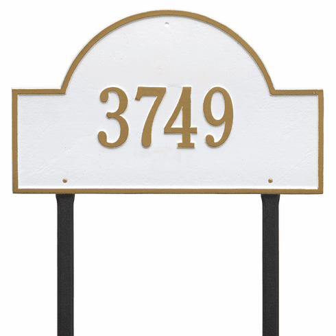 Arch Marker Estate Lawn One Line Plaque White and Gold
