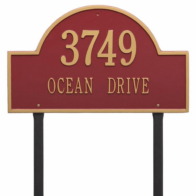 Arch Marker Estate Lawn Two Line Plaque in Red and Gold
