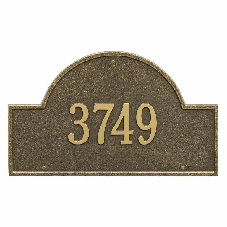 Arch Marker Estate Wall One Line Address Plaque in Antique Brass