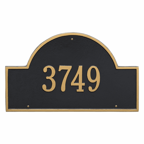 Arch Marker Estate Wall One Line Address Plaque in Black and Gold