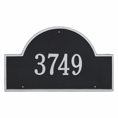 Arch Marker Estate Wall One Line Address Plaque in Black and Silver