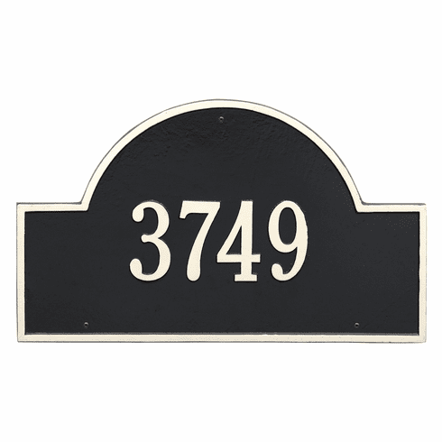 Arch Marker Estate Wall One Line Address Plaque in Black and White