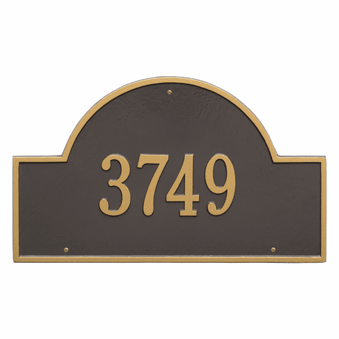 Arch Marker Estate Wall One Line Address Plaque in Bronze and Gold
