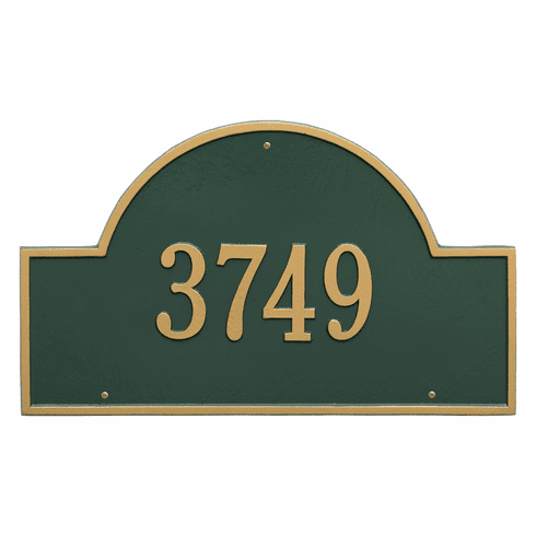Arch Marker Estate Wall One Line Address Plaque in Green and Gold