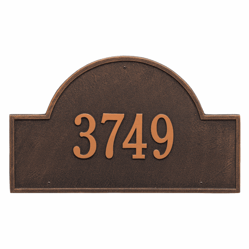 Arch Marker Estate Wall One Line Address Plaque in Oil Rubbed Bronze