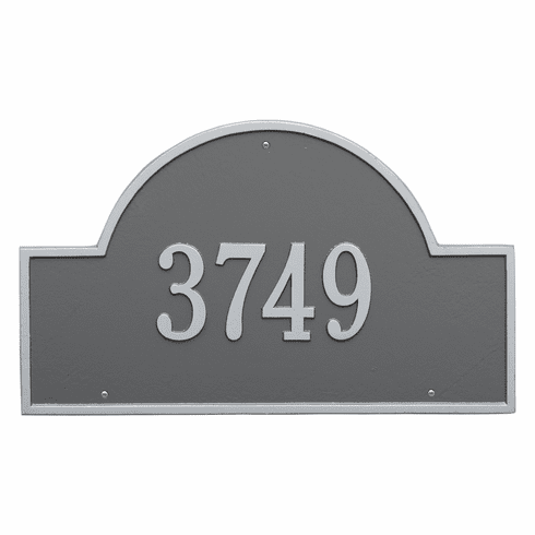 Arch Marker Estate Wall One Line Address Plaque in Pewter and Silver