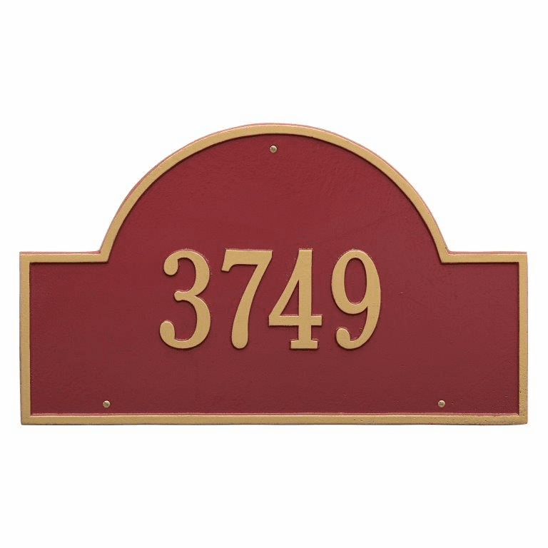 Arch Marker Estate Wall One Line Address Plaque in Red and Gold