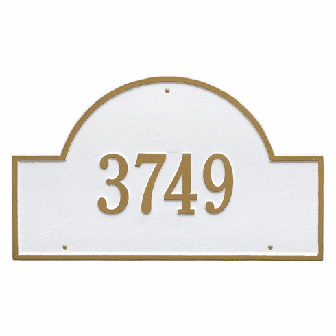 Arch Marker Estate Wall One Line Address Plaque in White and Gold