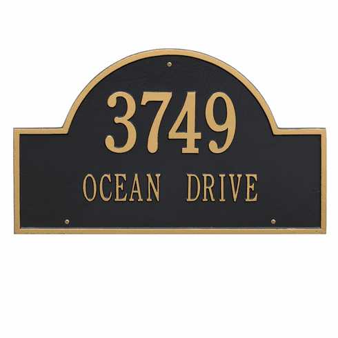 Arch Marker Estate Wall Two Line Address Plaque in Black and Gold