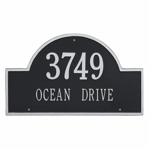 Arch Marker Estate Wall Two Line Address Plaque in Black and Silver