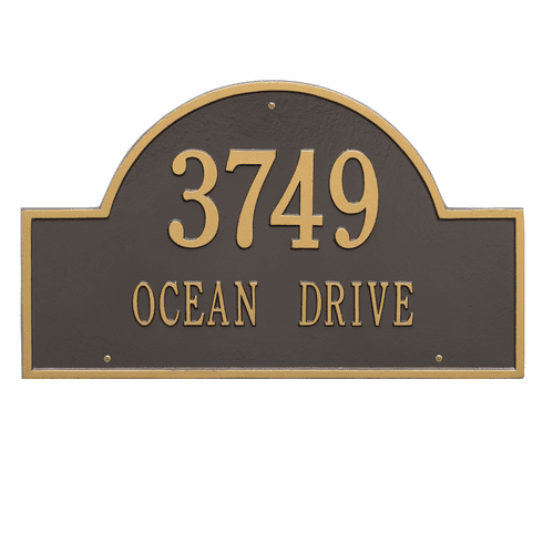 Arch Marker Estate Wall Two Line Address Plaque in Bronze and Gold