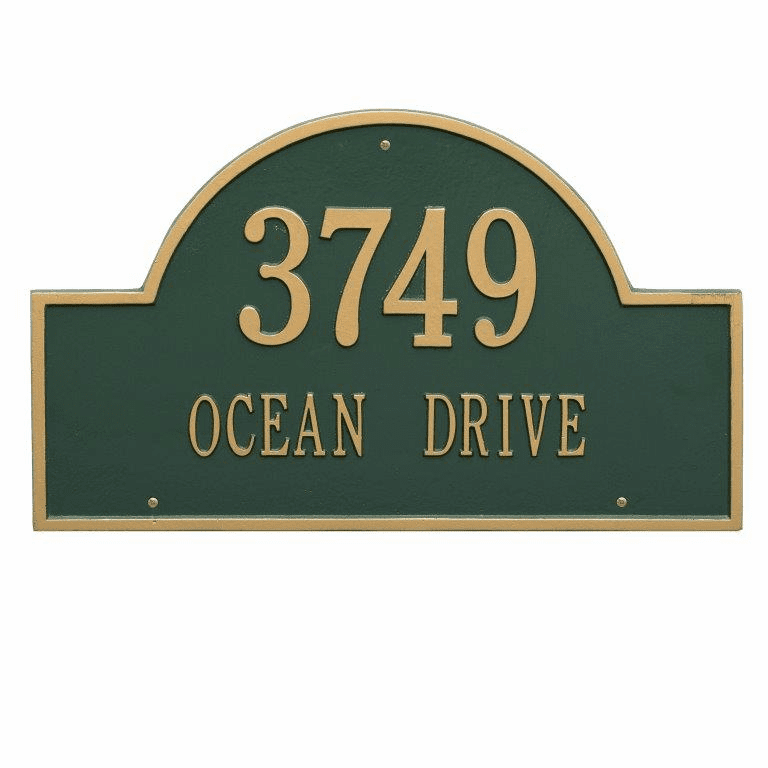 Arch Marker Estate Wall Two Line Address Plaque in Green and Gold
