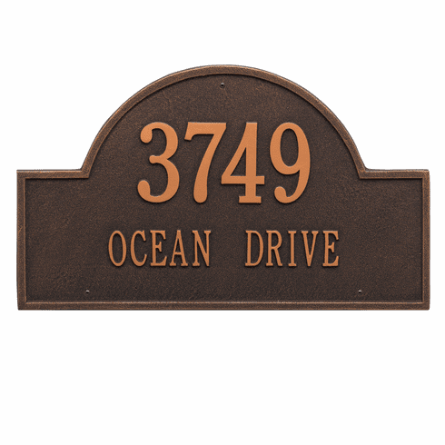 Arch Marker Estate Wall Two Line Address Plaque in Oil Rubbed Bronze