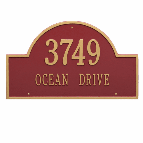 Arch Marker Estate Wall Two Line Address Plaque in Red and Gold