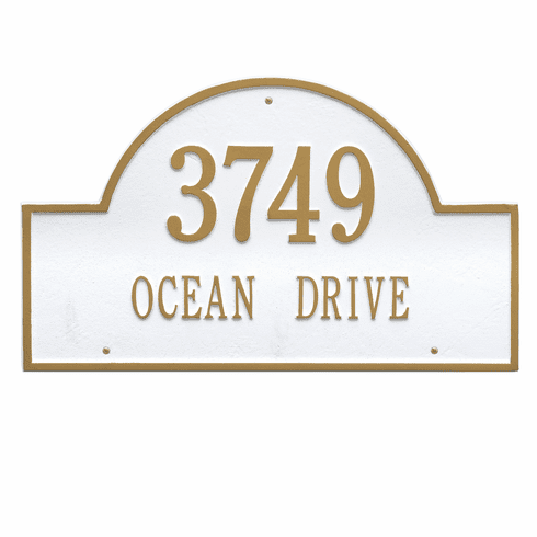 Arch Marker Estate Wall Two Line Address Plaque in White and Gold
