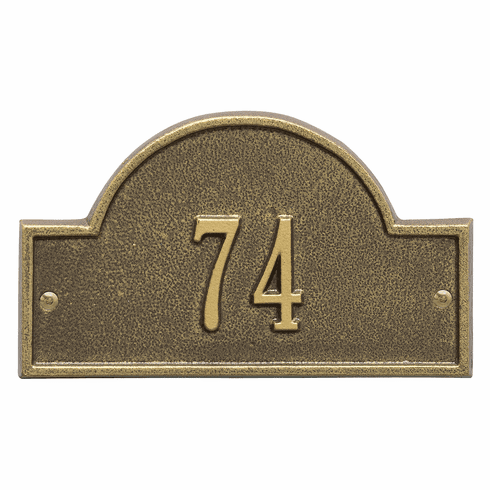 Arch Marker Petite Wall One Line Address Plaque in Antique Brass
