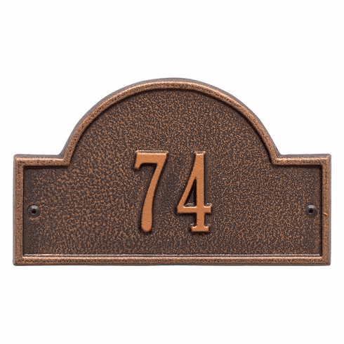 Arch Marker Petite Wall One Line Address Plaque in Antique Copper