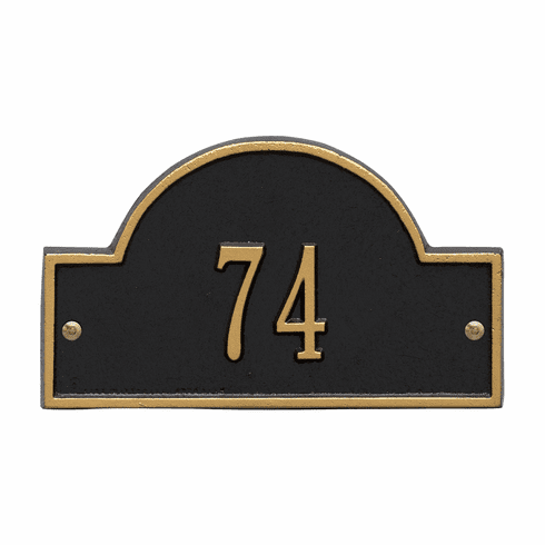Arch Marker Petite Wall One Line Address Plaque in Black and Gold