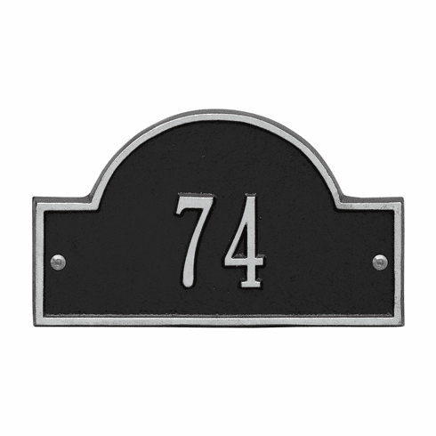 Arch Marker Petite Wall One Line Address Plaque in Black and Silver