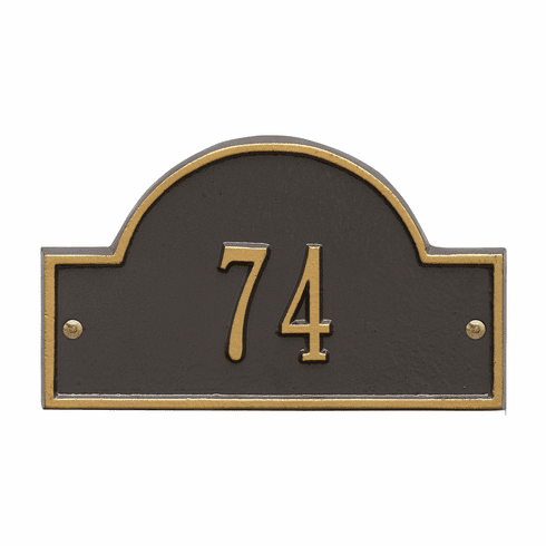 Arch Marker Petite Wall One Line Address Plaque in Bronze and Gold