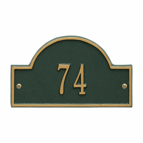 Arch Marker Petite Wall One Line Address Plaque in Green and Gold