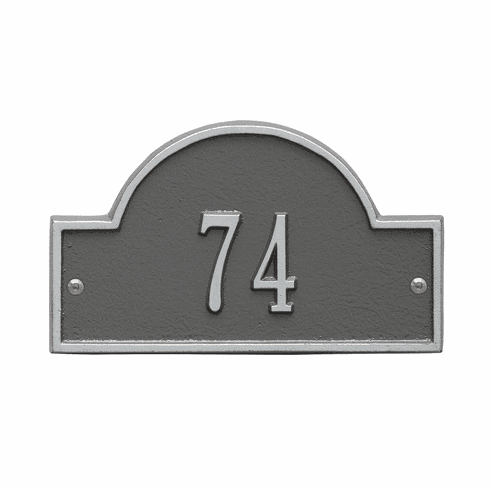 Arch Marker Petite Wall One Line Address Plaque in Pewter and Silver