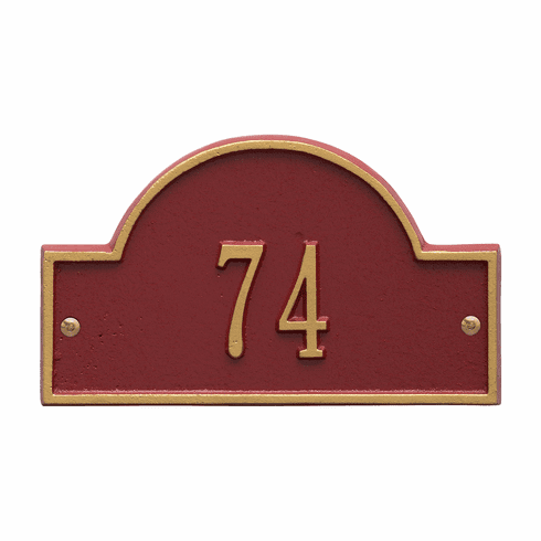 Arch Marker Petite Wall One Line Address Plaque in Red and Gold