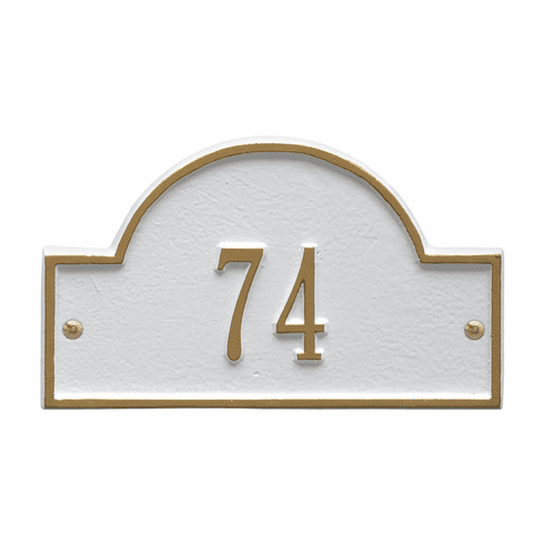 Arch Marker Petite Wall One Line Address Plaque in White and Gold