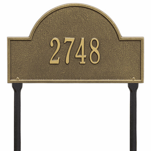 Arch Marker Standard Lawn One Line Plaque in Antique Brass