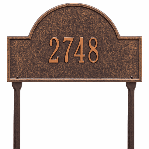 Arch Marker Standard Lawn One Line Plaque in Antique Copper