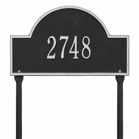 Arch Marker Standard Lawn One Line Plaque in Black and Silver