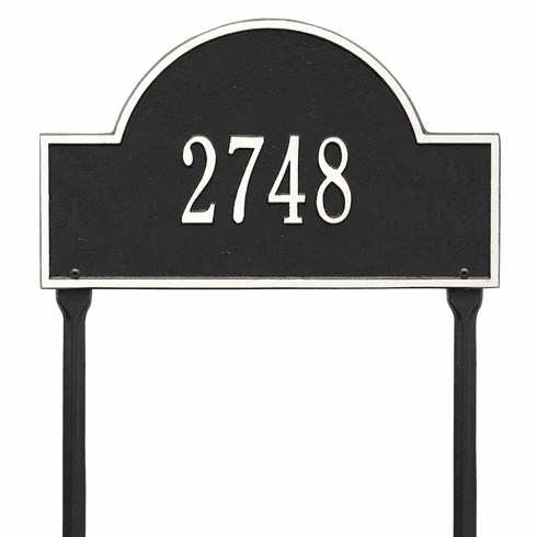 Arch Marker Standard Lawn One Line Plaque in Black and White