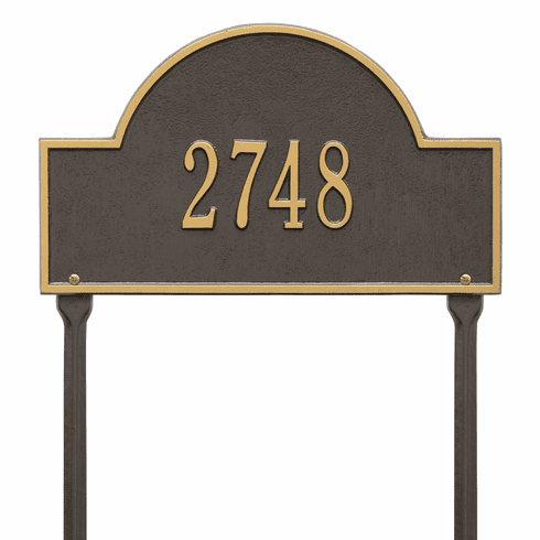 Arch Marker Standard Lawn One Line Plaque in Bronze and Gold