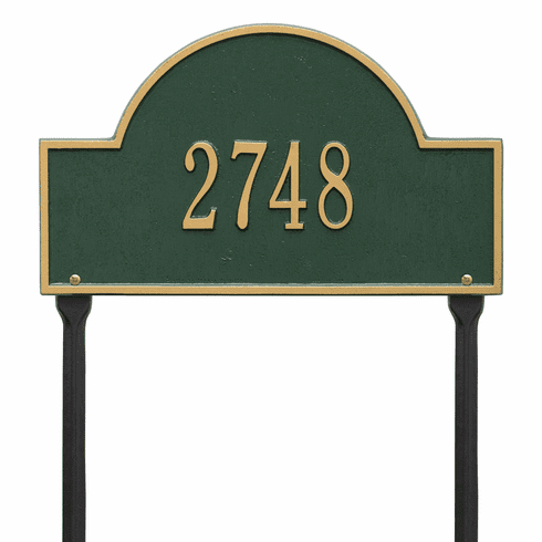 Arch Marker Standard Lawn One Line Plaque in Green and Gold