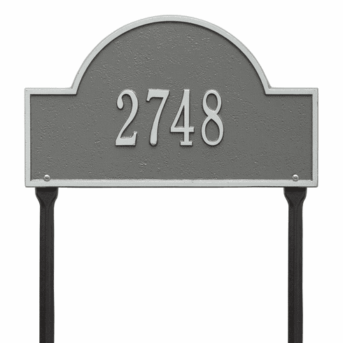 Arch Marker Standard Lawn One Line Plaque in Pewter and Silver