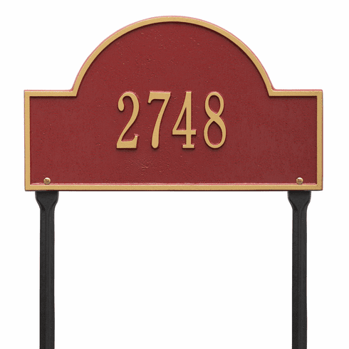 Arch Marker Standard Lawn One Line Plaque in Red and Gold