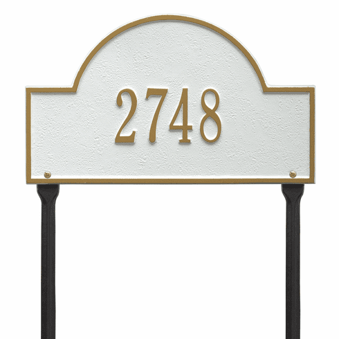 Arch Marker Standard Lawn One Line Plaque in White and Gold