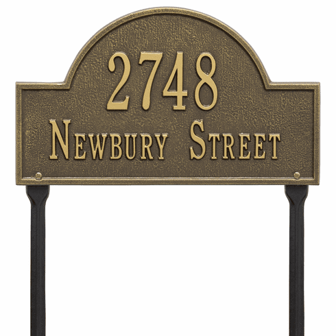 Arch Marker Standard Lawn Two Line Plaque in Antique Brass